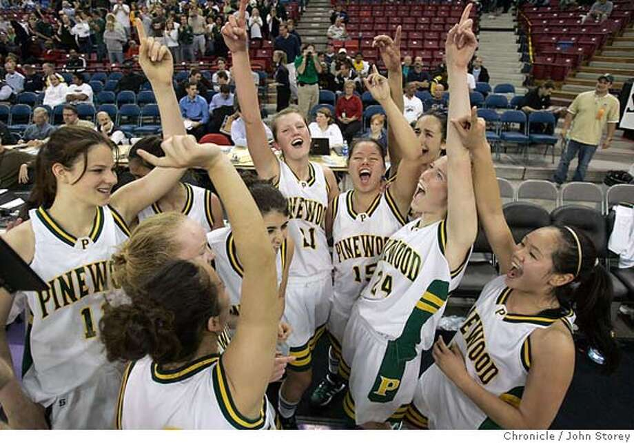 Pinewood_jrs_0360_jpg.JPG  The Pinewood team celebrates their victory over Pacific Hills.  The Pinewood Panthers vs. the Pacific Hills Bruins in CIF Divsion 5 girls high school basketball at Arco arena in Sacramento. John Storey Sacramento Event on 3/18/05 MANDATORY CREDIT FOR PHOTOG AND SF CHRONICLE/ -MAGS OUT Photo: John Storey