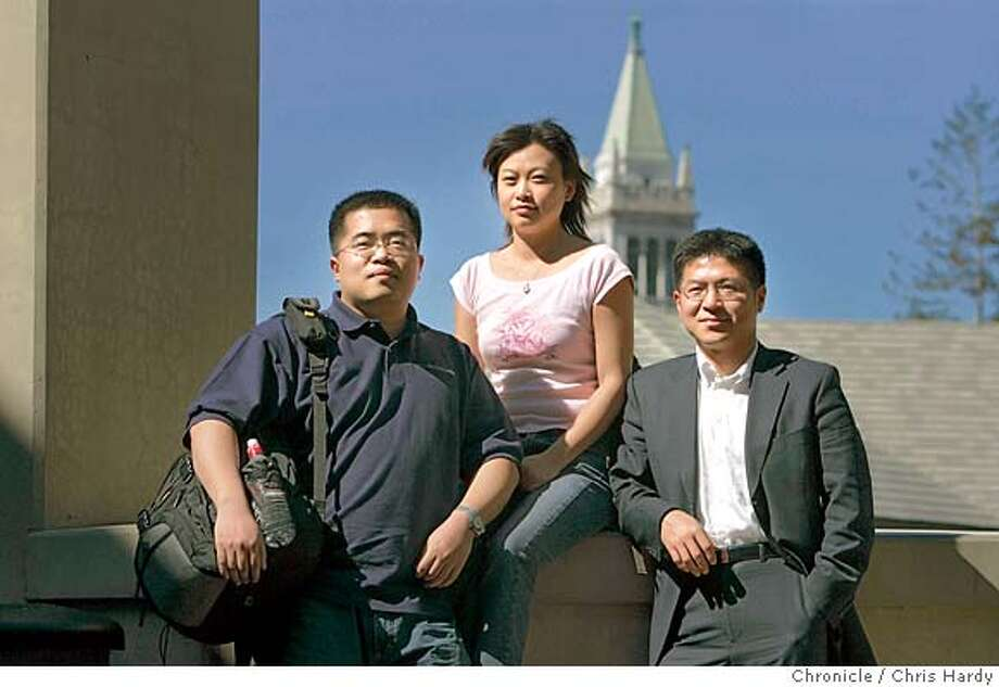Xin Lu, Chen Wang, and Hai Bin Lin.  Chinese students who are getting graduate degrees in business from the Haas School of Business at UC-Berkeley and have to decide whether to go back to China, or stay here. in Berkeley  3/14/05 Chris Hardy / San Francisco Chronicle Photo: Chris Hardy