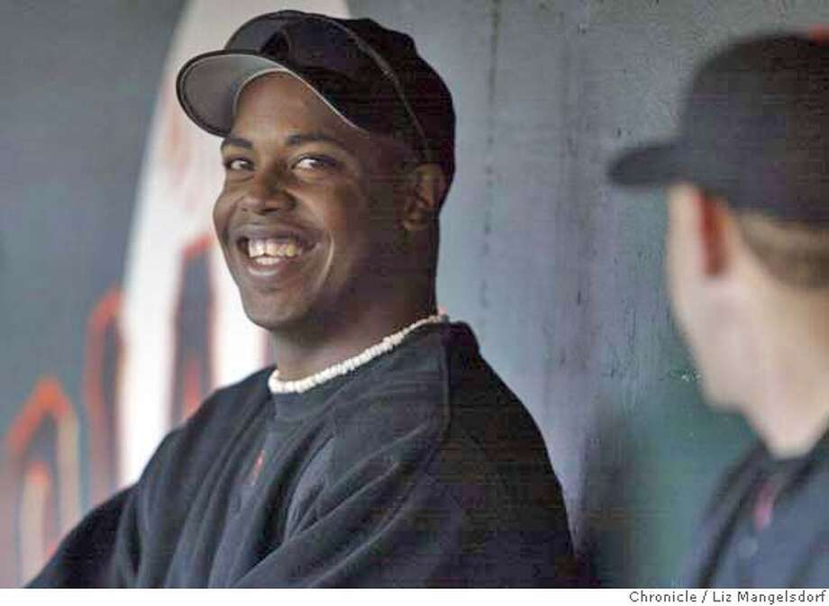 Event on 6/24/04 in San Francisco.  Giant's pitcher Jerome Williams in the dugout during the game.  Giants beat the LA Dodgers to sweep the Dodgers in four games at SBC Park.  Liz Mangelsdorf / The Chronicle Photo: Liz Mangelsdorf