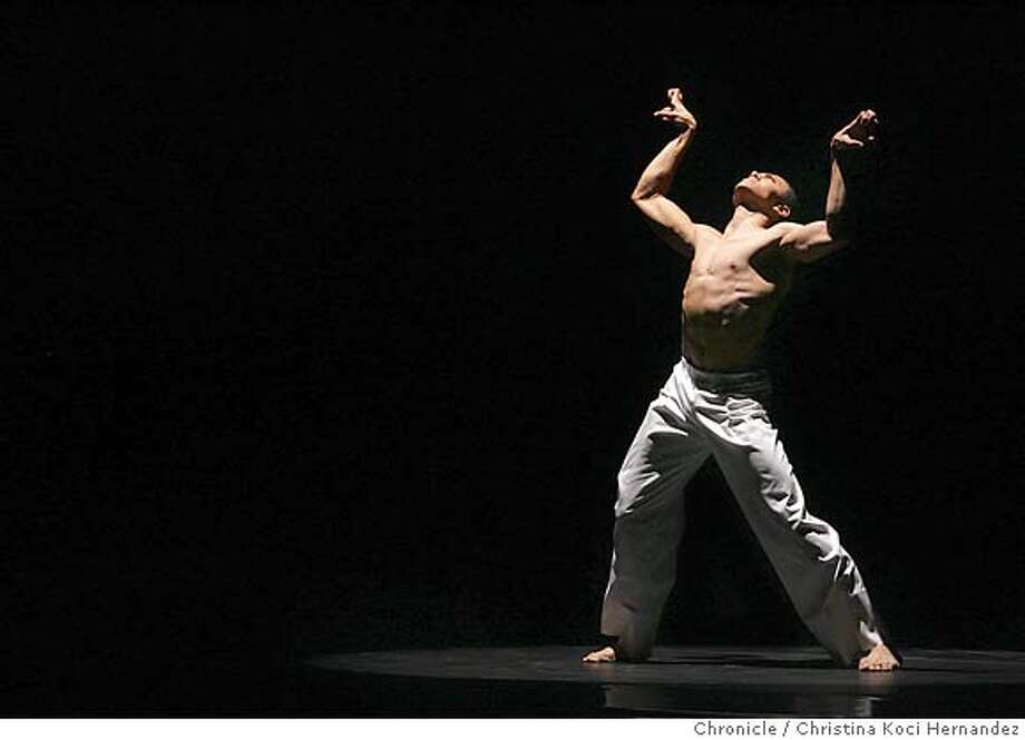 "ailey18077_ckh.jpg  Clifton Brown performs in piece, ""Caught.""We shoot review of Program B of Alvin Ailey Dance at Cal Perfromances This review will combine with Program c as 1 story .CHRISTINA KOCI HERNANDEZ/CHRONICLE Photo: CHRISTINA KOCI HERNANDEZ"