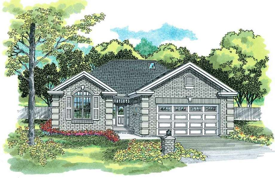 This artist rendering courtesy of Hanley Wood Home Plans shows House of the Week HMAFAPW01295. Corner quoins and a keystone arch add detail to the traditional brick exterior of this small home. Photo: AP