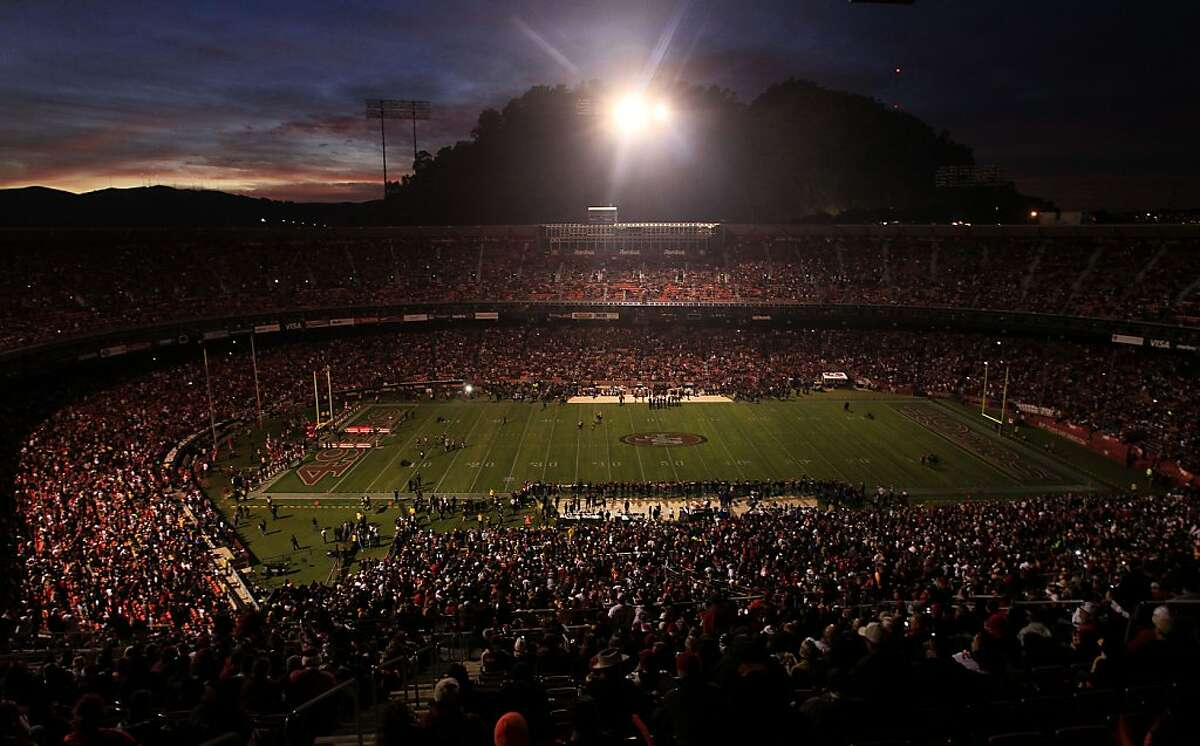 FILE - This Dec. 19, 2011, file photo, shows Candlestick Park during a power outage at an NFL football game between the San Francisco 49ers and Pittsburgh Steelers in San Francisco. San Francisco and Pacific Gas & Electric Co. officials plan to install equipment to help prevent a repeat of Monday's blackouts at Candlestick Park during a nationally televised game between the San Francisco 49ers and Pittsburgh Steelers. (AP Photo/Jeff Chiu, File)
