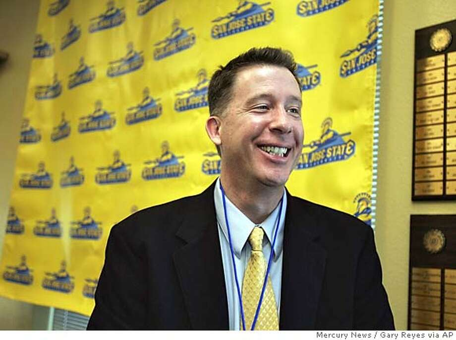 George Nessman is introduced as the new San Jose State men's basketball coach during a news conference Tuesday, March 15, 2005, in San Jose Calif. Nessman, never a head coach at the Division I level, was given a four-year contract. (AP Photo/Mercury News, Gary Reyes) Photo: GARY REYES