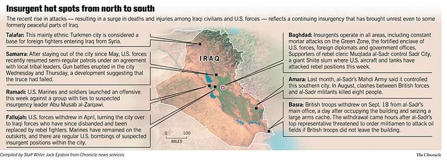 Insurgent Hot Spots From North to South. Chronicle Graphic