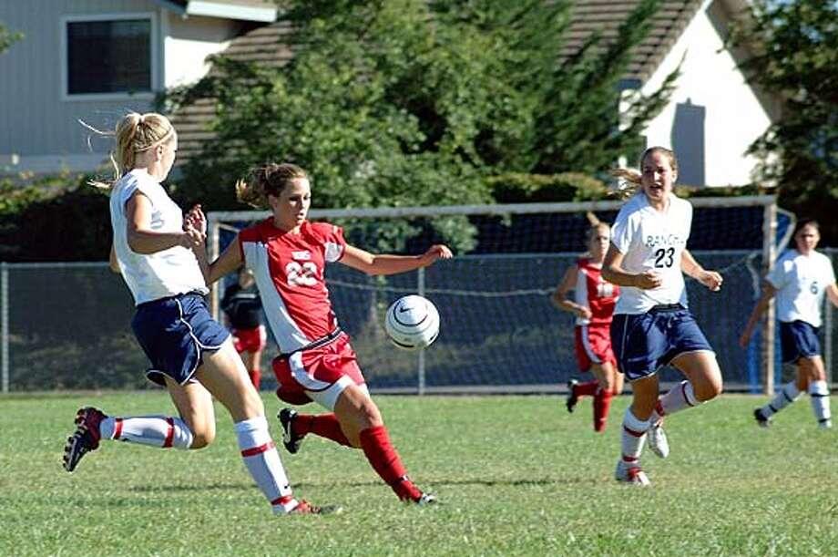 Megan Salkin (No. 22) of Montgomery High School readies a kick.