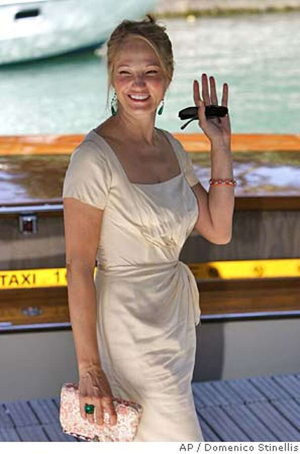 """Actress Ellen Barkin arrives to the 61st edition of the Venice Film Festival in Venice, northern Italy, Tuesday, Sept. 7, 2004. She is in Venice to present her latest movie """"Palindromes"""". (AP Photo/Domenico Stinellis) Datebook#Datebook#Chronicle#9/24/2004##Advance##0422331632 Photo: DOMENICO STINELLIS"""