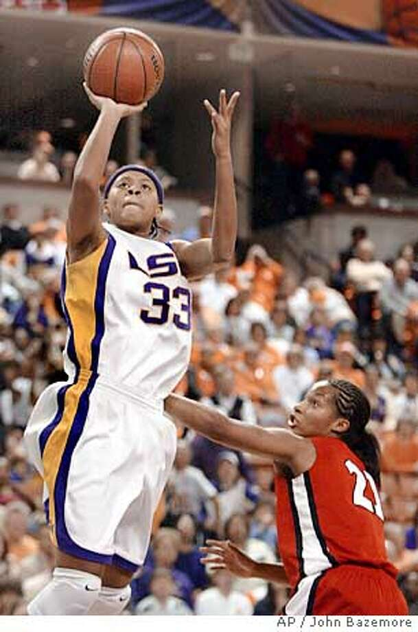 Louisiana States' Seimone Augustus shoots as Georgia's Cori Chambers defends duing the first half of a Southeastern Conference semifinal game Saturday March 5, 2005 in Greenville, S.C.. (AP Photo/John Bazemore) Ran on: 03-14-2005  LSU's Seimone Augustus should carry the Tigers deep into the tournament. Photo: JOHN BAZEMORE