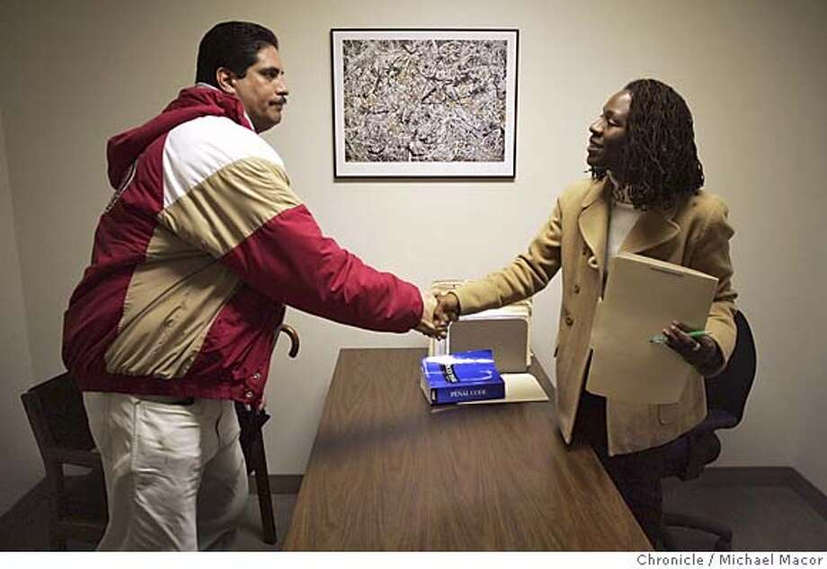 Padilla shakes hands with public Defender Demarris Evans after their appointment where he hopes to have citations removed from his criminal records. Richard Padilla has seven felonies and six misdemeanors. He has been out of prison for nearly a decade - without reoffending. His life has progressed in positive ways. One thing hasn't changed: his criminal record. He says it prevents him from getting a job and having a future. Padilla is working to have part of his record cleared. More than 1,500 people had their criminal records expunged last year through a program called Clean Slate. San Francisco Public Defender Jeff Adachi says the program is the only one of its kind in the state. The program began in 1998, when it had a few dozen records expunged. Last year, Adachi opened a second Clean Slate office - in the Bayview. On Feb. 26, another office will open in the Western Addition. A look at the pros and cons of such a program. 2/15/05 San Francisco, Ca Photo by Michael Macor / San Francisco Chronicle Photo: Michael Macor