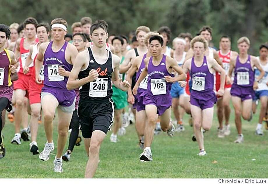 XC22_070_el.JPG  Varisty Boys taking off at the start of their race.  Story is about the robust health of high school cross country. We're asking for shots from the De La Salle/Carondelet adidas invitational at Newhall Park in Walnut Creek. we'd like a wide shot of the long-long lineup of runners at the starting line and perhaps a shot of a huge pack of runners early in the race. also, College Park high school in pleasant hill has an all-time high of 120 runners participating in the sport this year.  Event on 9/19/04 in Walnut Creek. Eric Luse / The Chronicle Photo: Eric Luse