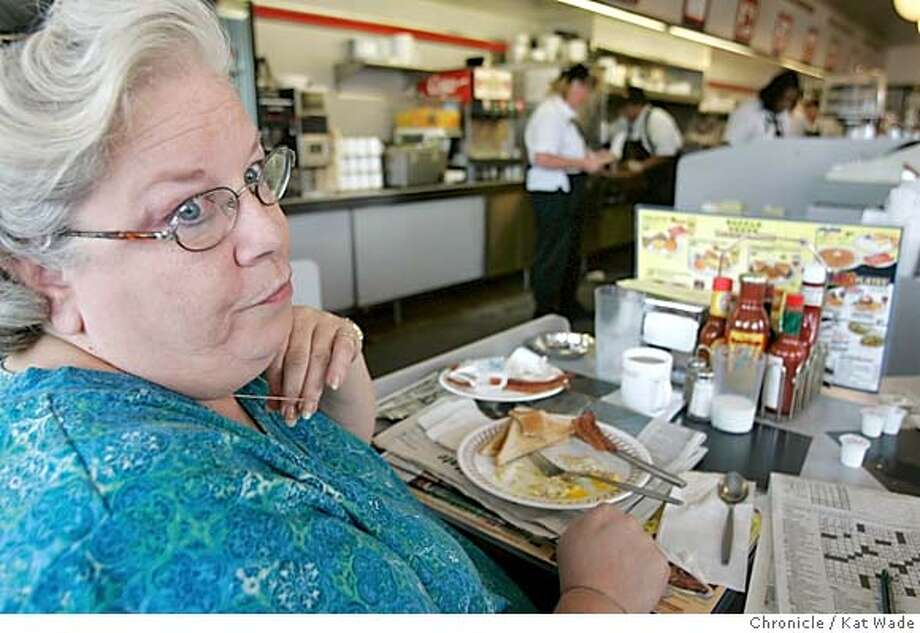 WARD62_070_KW.jpg In Columbus, OH on 9/17/04 Susan Wood does not hide her opinions on the upcoming election at The Waffle house, a local gathering place for residents of Ward 62. No president has made it to the White House without winning Ward 62 in the suburbs of Columbus, Ohio. . Chronicle Photo by Kat Wade Mags out/mandatory credits San Francisco Chronicle and photographer/ Photo: Kat Wade