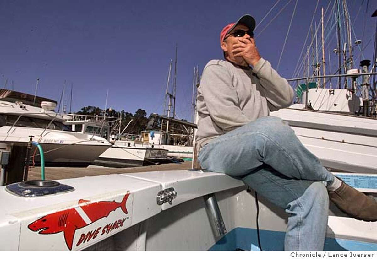 JAWS12_0208_LI.JPG Cliff Zimmerman talks about his friend of 30 plus years Randall Fry, and about his last day prior to being killed by a great white shark on Aug 15th while seated on the stern of his 28th foot boat inside Fort Bragg's harbor. By Lance Iversen/San Francisco Chronicle