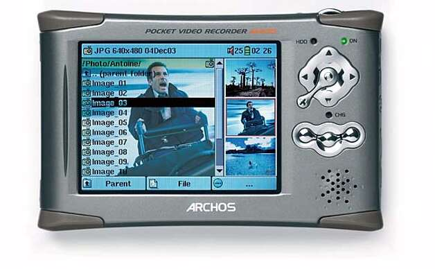 MEDIAPLAYER20A.JPG Archos AV400 Pocket Video Recorder  $ 549.95 for 20 GB version  $ 799.95 for 80 GB version  3.5-inch to 3.8-inch color LCD screen  Depending on the hard drive size, can store up to 160 full length movies, 800,000 photos, 1,200 hours of music. COURTESY Archos Inc. of Irvine. MANDATORY CREDIT FOR PHOTOG AND SF CHRONICLE/ -MAGS OUT