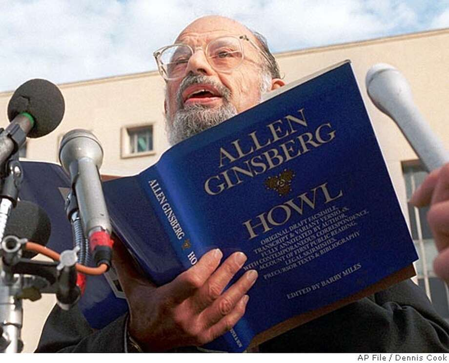 "FILE--Poet Allen Ginsberg reads his poem ""Howl"" outside the U.S. Court of Appeals in Washington in this Oct. 19, 1994, file photo. Ginsberg, the poet laureate of the Beat Generation whose writing and lifestyle shaped the music, politics and protests ofthe next 40 years, died this morning. He was 70.. (AP Photo/fls, Dennis Cook) ALSO RAN: 4/17/97 CAT Photo: DENNIS COOK"