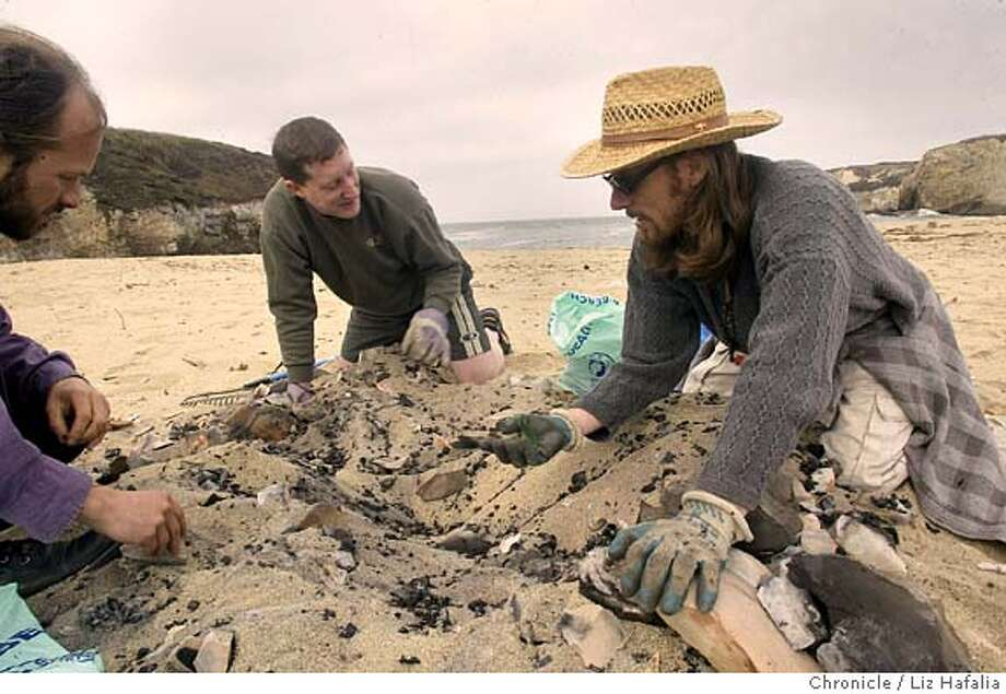 clockwise--Crouton Jones, from Boulder Creek, Tymn Urban (cq) from Santa Cruz, and Bill Haskell from Berkeley picking up mostly glass and nails at the 20th annual California coastal cleanup day at Boony Doon beach. Shot on 9/18/04 in Davenport. LIZ HAFALIA / The Chronicle Photo: LIZ HAFALIA