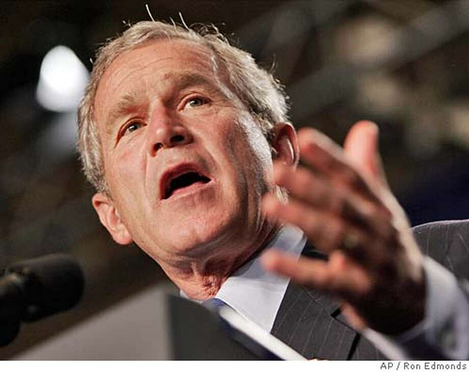 President Bush speaks at a Victory 2004 Reception, Friday, Sept. 17, 2004, in Washington. Bush will leave later Friday for campaign stops in North Carolina before heading to the family home in Kennebunkport, Maine for the weekend. (AP Photo/Ron Edmonds) Photo: RON EDMONDS