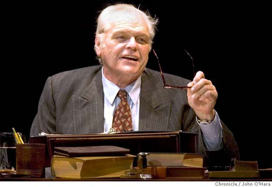 Post Street Theatre, 450 Post St. San Francisco, CA.  Trumbo: Red, White & Blacklisted  Brian Dennehy in the title role. ( white hair)  William Zielinski/ Christopher Trumbo  photo/John O'Hara Photo: John O'Hara