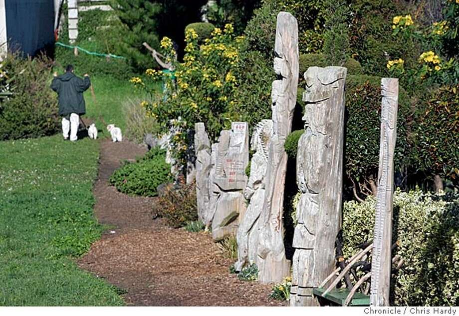 Demi Braceros, a gardener for the Park and Rec Department who transformed Cayuga Park in the Excelsior into a garden oasis. In addition to adding pathways and flowers, he's created dozens of wooden carved totem poles and sculptures. He's about 65 and getting ready to retire. San Francisco  1/31/05 Chris Hardy / San Francisco Chronicle Photo: Chris Hardy