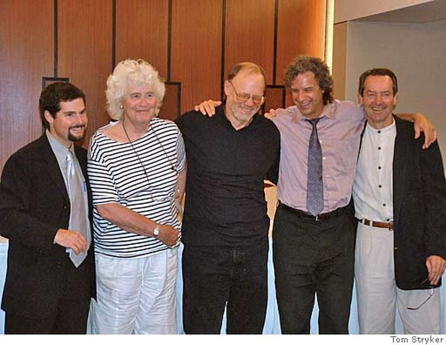 BOOKS29A.JPG From left to right: Michael Shapiro (host of the event and editor of A Sense of Place), Jan Morris, Tim Cahill, Jeff Greenwald, and Larry Habegger (Executive editor of Travelers' Tales) PLEASE CREDIT: Tom Stryker Ran on: 08-29-2004  Fellow travelers (from left) editor Michael Shapiro; contributors Jan Morris, Tim Cahill and Jeff Greenwald; and Travelers' Tales Executive Editor Larry Habegger came from near and far to celebrate &quo;A Sense of Place.&quo; BookReview#BookReview#Chronicle#08-29-2004#ALL#Advance#M2#0422291756 BookReview#BookReview#Chronicle#09-19-2004#ALL#Advance#M2#0422291756 Photo: Tom Stryker