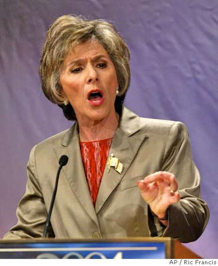Sen. Barbara Boxer, D-Calif., makes a point during a League of Women Voters' debate between Boxer and her Republican challenger Bill Jones in Los Angeles, Tuesday, Aug. 10, 2004. (AP Photo/Ric Francis) Ran on: 08-12-2004  Barbara Boxer Ran on: 08-17-2004 Ran on: 08-17-2004  Sen. Barbara Boxer complained of the Bush team's &quo;Wizard of Oz'' terror defense. Politics#MainNews#Chronicle#8/17/2004#ALL#5star#A4#0422246970 Photo: RIC FRANCIS