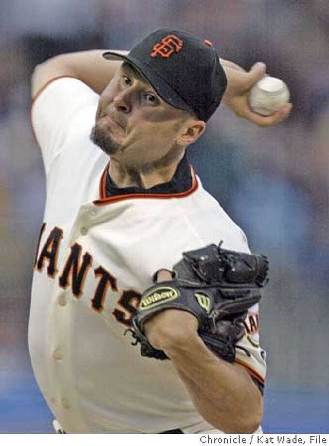 The San Francisco Giant's pitcher Jason Schmidt had thee up and three out during the 3rd inning during the game against the Colorado Rockies at Pac Bell Park Tuesday night in San Francisco on 7/6/04 . Kat Wade/The Chronicle Photo: Kat Wade