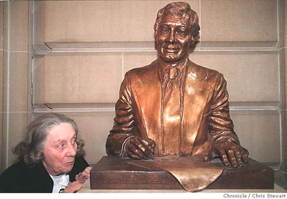 A VISITOR CHECKED OUT THE BUST OF SLAIN SAN FRANCISCO MAYOR GEORGE MOSCONE, UNVEILED IN THE CITY HALL ROTUNDA THURSDAY. CAT Photo: CHRIS STEWART