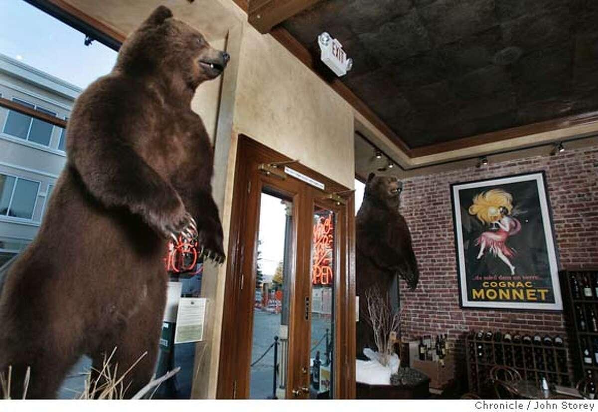 The Siberian Bears in the restaurant. Review of the restaurant Bounty Hunter in Napa. John Storey Napa, CA. 2/10/05 Napa, CA John Storey/The Chronicle