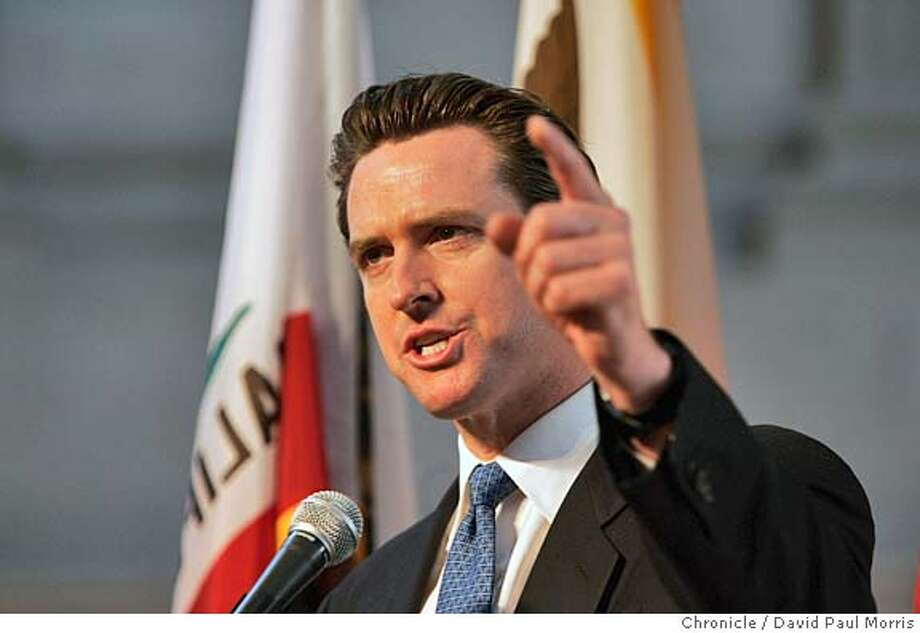 SAN FRANCISCO - FEBRUARY 12: Mayor Gavin Newsom speaks to Gay and Lesbian couples who were married last year as they attend the 1st wedding anniversary bash hosted by Mayor Gavin Newsom in City Hall on Saturday February 12, 2004. Several thousand couples along with their family and friends attended the morning event which will include celebrations throughout the day. Photo by David Paul Morris/The Chronicle Mandatory credit for photographer and SF Chronicle/ Mags out. Photo: David Paul Morris