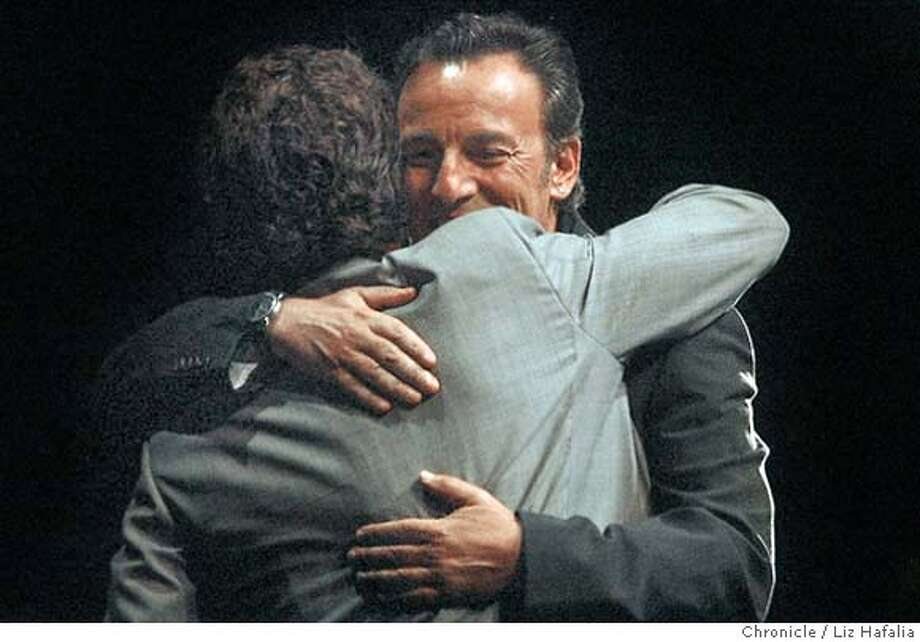 Sean Penn receiving the Steinbeck Award from Bruce Springstein at the Palace of Fine Arts. Shot on 9/10/04 in San Francisco. LIZ HAFALIA / The Chronicle Photo: LIZ HAFALIA