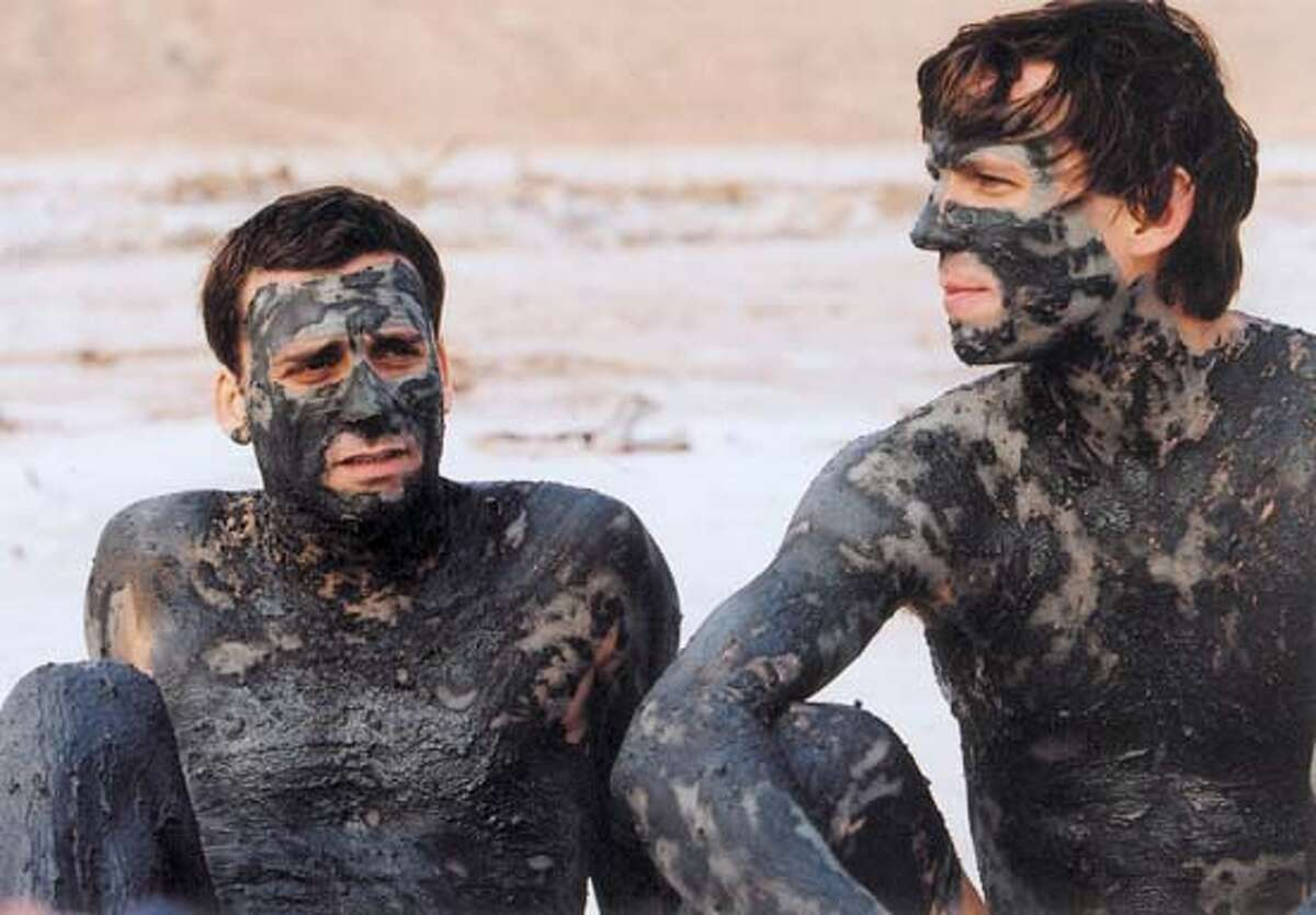 WALK04 Lior Ashkenazi and Knut Berger by the Dead sea IN Walk On Water. Lama Productions Ltd.