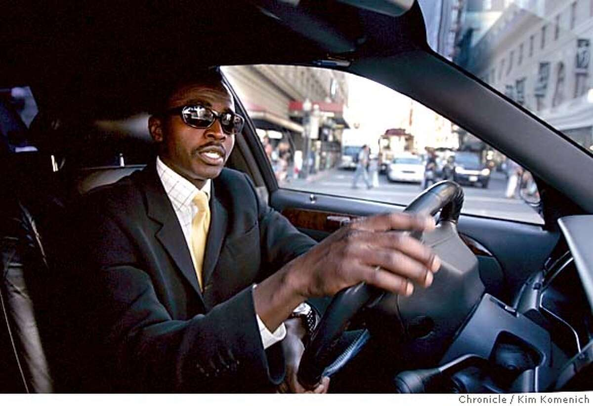 Saeed Ibrahim drives his limousine in the Union Square area. The San Francisco State International Relations Graduate degree holder is Nigerian born but became a U.S. citizen about 10 years ago. He has another business involving the sale of used American Pentium III laptop computers overseas including Nigeria. He tell of the profiling he's endured since 911 when returning from international business trips to sell his computers. Photo by Kim Komenich in San Francisco
