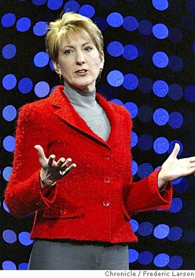 FIORINA_092_fl.jpg �HP CEO Carly Fiorina at Oracle World at the Moscone Center in SF along with Oracle Prez Charles Philips. 12/6/04 San Francisco CA Frederic Larson  The San Francisco Chronicle Photo: Frederic Larson