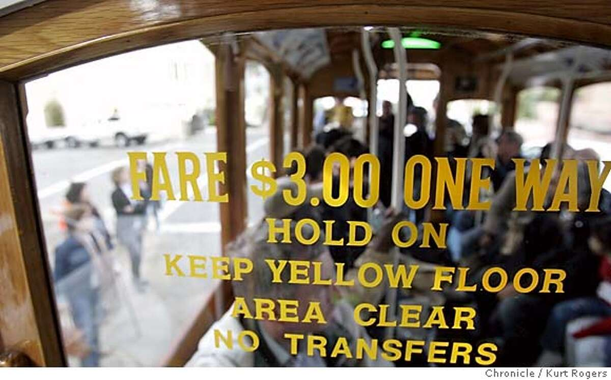 The sign on the window of the cable car says $3.00 one way.and will go up to 5.00 Among the proposals being pushed by Muni officials to close its $57 million deficit is a 60 percent increase in cable car fares, from the current $3 to $5. But will the little cable cars climb 80 percent of the way to the stars instead of halfway to the stars? And will the tourists continue to sit still for being gouged? MUNI_CABLE02_0162_kr.JPG 3/1/05 in San Francisco,CA. KURT ROGERS/THE CHRONICLE MANDATORY CREDIT FOR PHOTOG AND SF CHRONICLE/ -MAGS OUT
