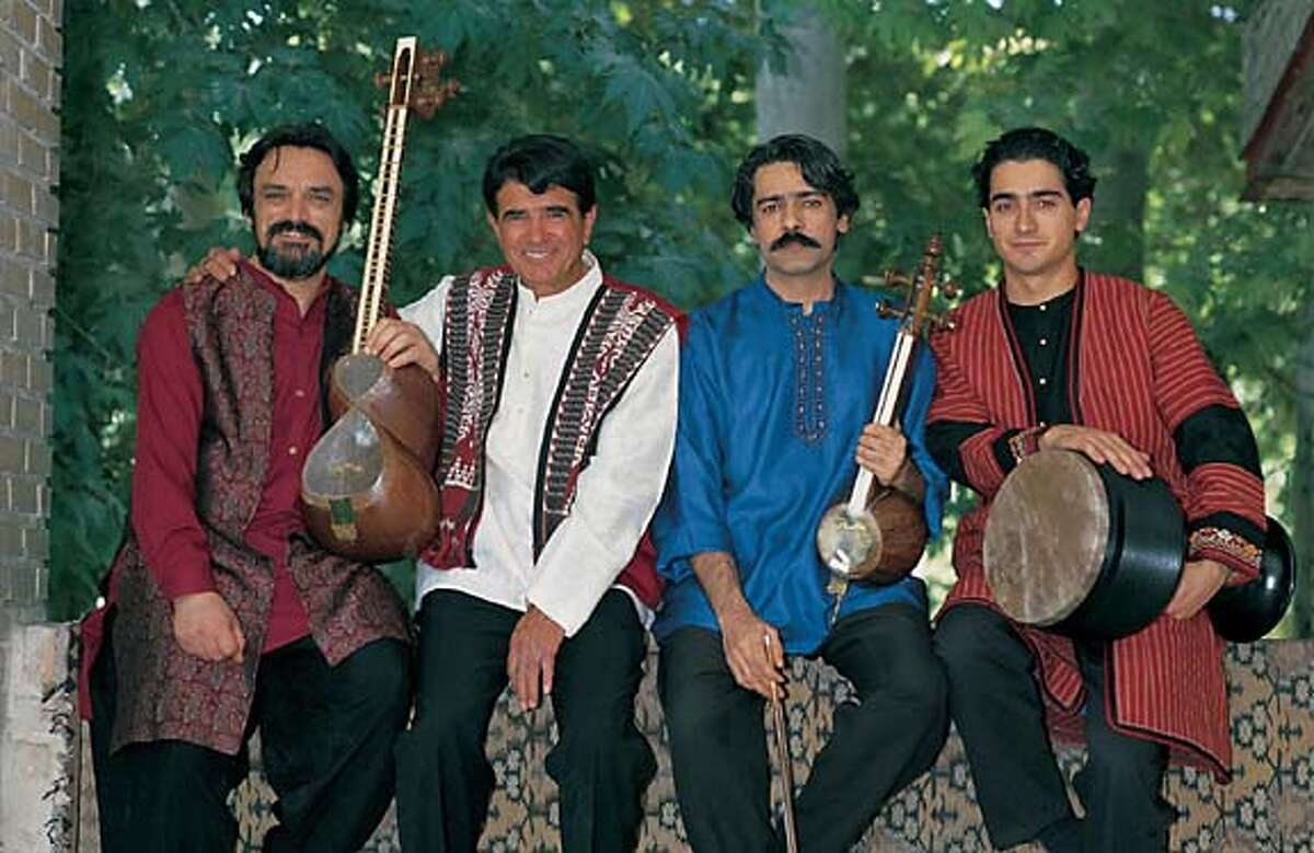 Masters of Persian Music: Hossein Alizadeh is on the far left, Mohammad Reza Shajarian is to his right, Kayhan Kalhor is the 2nd to the right, and Homayoun Shajarian is on the far right.