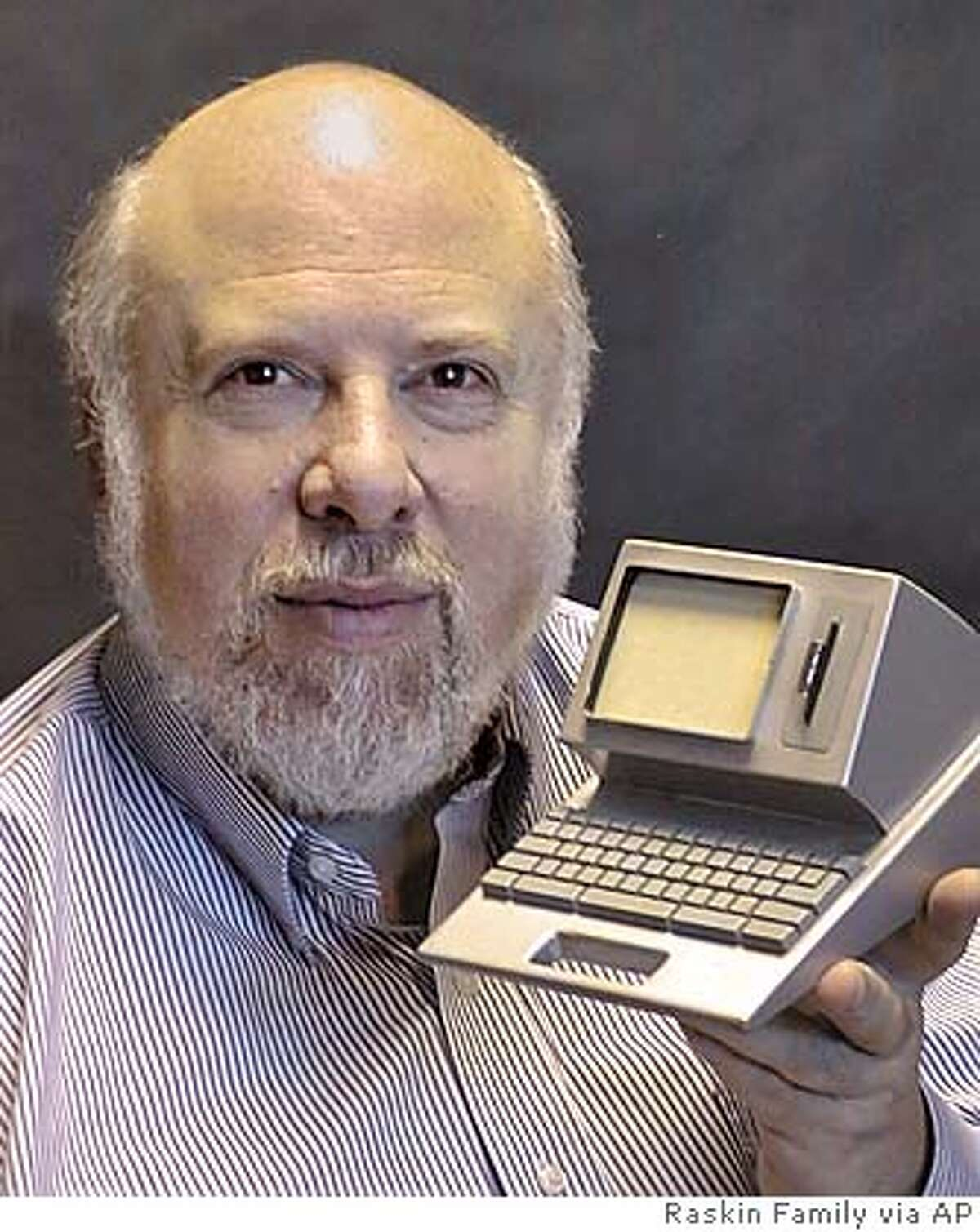 **FILE**Jef Raskin, a computer interface expert who conceived the Apple Computer Inc. Macintosh computer, is shown holding a self-built model of one of his early computers, at his house in Pacifica, Calif., in January 2001. Raskin, 61, died on Saturday. He joined Apple in 1978 as its 31st employee. (AP Photo/Aza Raskin, Raskin Family ho) JANUARY 2001 FILE PHOTO RASKIN FAMIILY HANDOUT