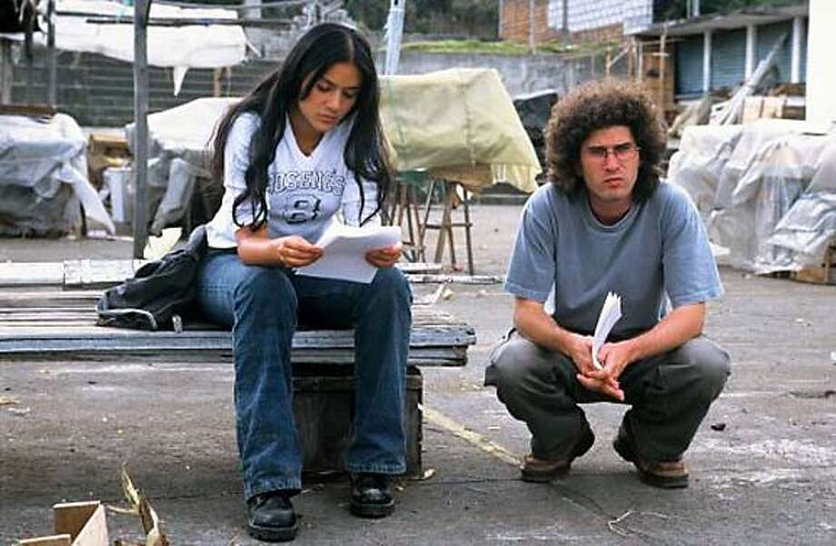"Catalina Sandino Moreno and director Josh Marston on the set of ""Maria Full of Grace"""