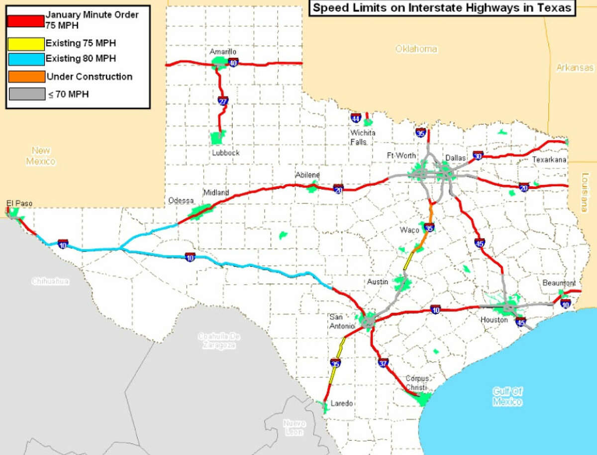 map of 75 mph highways