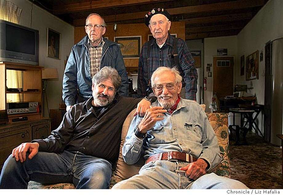 Berkeley photographer Richard Bermack (left, front) is out with a picture book on the vets of the Abraham Lincoln Brigade, famed for going to war against fascism in Spain in the 1930s. Next to him on right is Milt Wolff, the brigade's last combat commander in Spain. On top are veterans Nate Thornton (left) and Mark Billings (right). Shot in El Cerrito on 2/18/05. Photo: Liz Hafalia