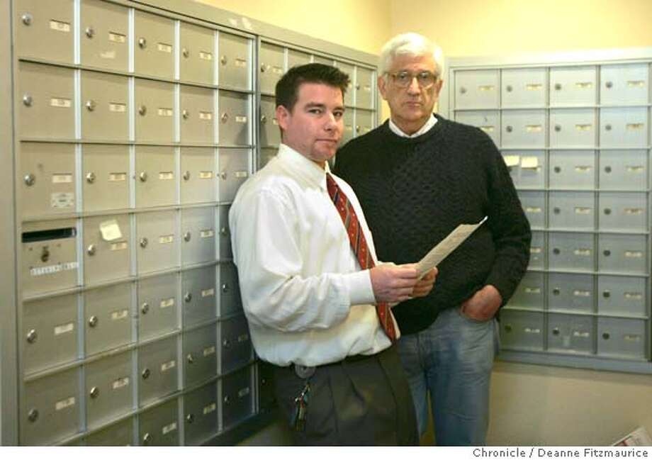 choicepoint24_043_df.JPG  Henry Collission, left, holding the letter, and Warren Lambert have both received letters from Choicepoint, Inc stating that they may be victims of identity theft. They are standing by the mailboxes in the apartment building where they each live in San Francisco.  Deanne Fitzmaurice / The Chronicle Photo: Deanne Fitzmaurice