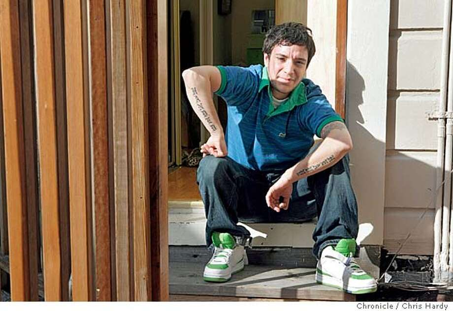 kat25_ch_133.jpg  Rocco Kayiatos (aka Katastrophe), hip hop artist has a new CD Portrait of him at home in San Francisco.  2/16/05 Chris Hardy / San Francisco Chronicle Photo: Chris Hardy