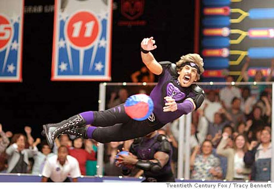 During the ultimate dodgeball competition, a colorfully clad Ben Stiller takes flight in Dodgeball: A True Underdog Story Photo credit: Tracy Bennett  TM and � 2003 Twentieth Century Fox. All rights reserved. also ran 06/18/2004 ProductName	SundayDatebook Ran on: 06-18-2004  Ben Stiller, all dolled up for a big contest, plays a hard-bodied fitness mogul in &quo;Dodgeball.&quo; Ran on: 09-05-2004  &quo;DodgeBall: A True Underdog Story,&quo; starring Ben Stiller, has made $113 million on an estimated $20 million budget.
