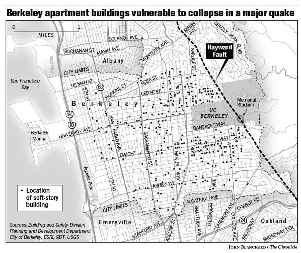 Berkeley Apartment Buildings Vulnerable to Collapse in a Major Quake. Chronicle graphic by John Blanchard
