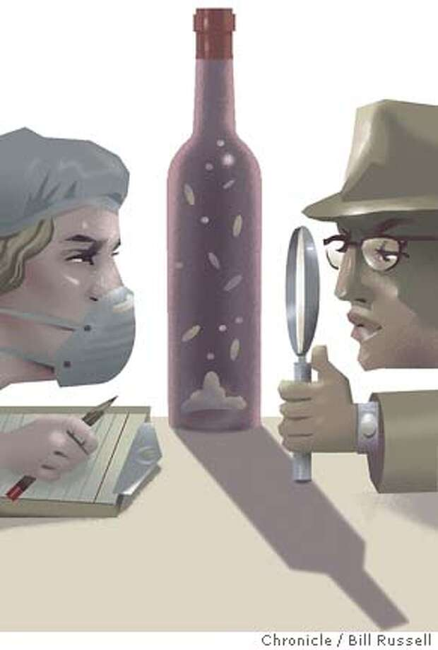 Sleuthing out what's in wine: Sturgeon bladder in your bubbly?  You'd be surprised at the stuff that's paid a visit to what you're  drinking. Chronicle illustration by Bill Russell Photo: Bill Russell
