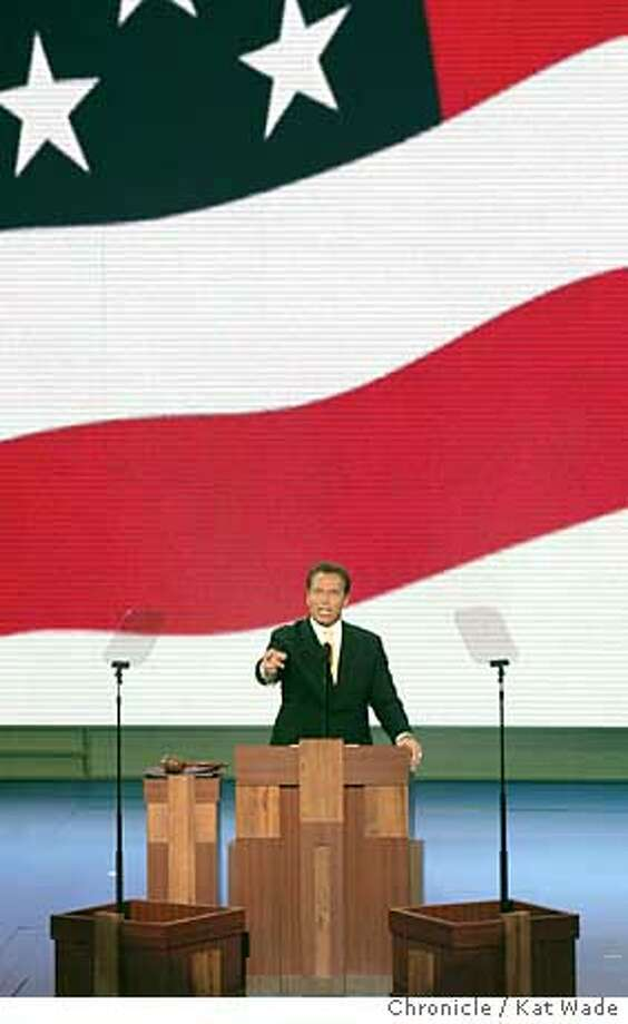 On 8/31/04 in New York, California Govener Arnold Schwarzenegger gives the key note speech during the second night of the Republican National Convention in New York. The Chronicle/ Kat Wade Photo: Kat Wade
