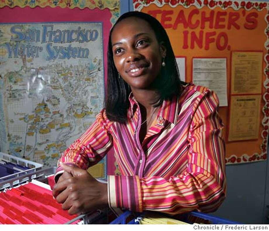 Demetria Willliams a teacher at Charles Drew Elementary works with pre-schoolers and who grew up in the Bayview and are now working at the schools in an effort to bring quality education to the neighborhood. 8/26/04 in San Francisco, ca. Photo by Frederic Larson/San Francisco Chronicle Photo: FREDERIC LARSON