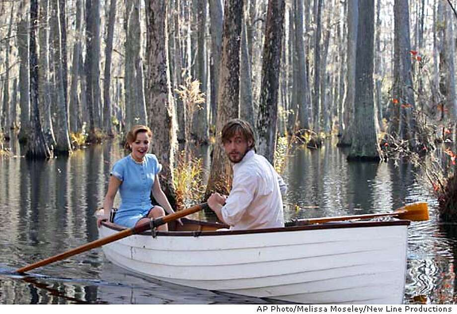 "Rachel McAdams as Allie and Ryan Gosling (left) as Noah in ""The Notebook."" An epic story of love lost and found from New Line Productions. (AP Photo/Melissa Moseley/New Line Productions) Ran on: 06-25-2004 Ran on: 06-25-2004 Ran on: 06-25-2004  Rachel McAdams and Ryan Gosling play Allie and Noah, a couple in the 1940s in &quo;The Notebook.&quo; Photo: MELISSA MOSELEY"
