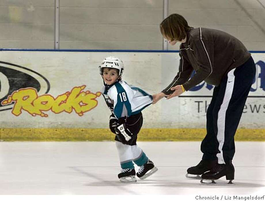 sharks054_lm.JPG Event on 2/16/05 in San Jose.  Four year old shark fan Ryan Felber(dressed in his sharks uniform) gets some pointers from his teacher Brent Holdburg at the Logitech Ice Arena in San Jose. Ryan has been going to Shark games since he was 6 months old and his family has season tickets. He has been taking skating lessons since he was 3 years old.  The NHL announced that there will be no 04-05 season. Sharks owner talks with the media. Liz Mangelsdorf / The Chronicle MANDATORY CREDIT FOR PHOTOG AND SF CHRONICLE/ -MAGS OUT Photo: Liz Mangelsdorf
