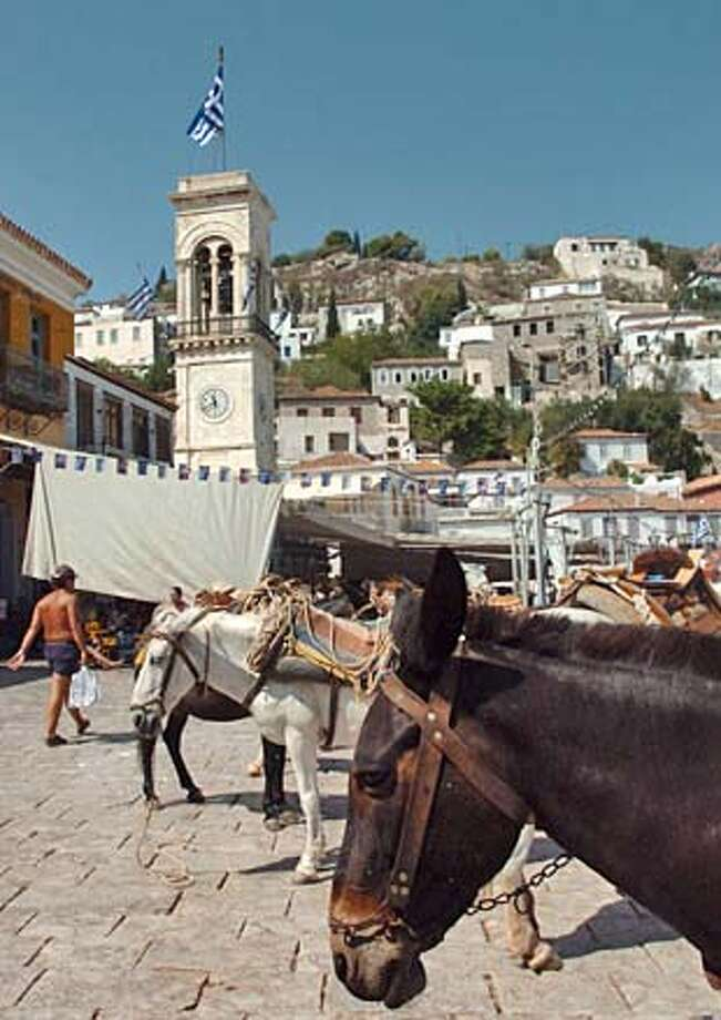 Donkeys wait for luggage from a yacht to be loaded and lead off to deliver ot a hotel. Signs of the Olympics are around but not overbearing on the lovely and tourist infested island of Hydra inGreece on Saturday, August 21st, 2004. DENVER POST PHOTO BY STEVE DYKES  COLORADO OUT COLORADO OUT Photo: STEVE DYKES