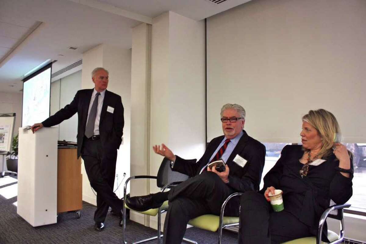 Kip Bergstrom, center, deputy commissioner of the state Department of Economic and Community Development, makes a point at the initial Fairfield County Creative Corridor session. Joining him in the presentation were Christopher Bruhl, left, and Marian Salzman, chief executive officer of Euro RSCG Worldwide PR, North America, and chairwoman of the Fairfield County Public Relations Association.