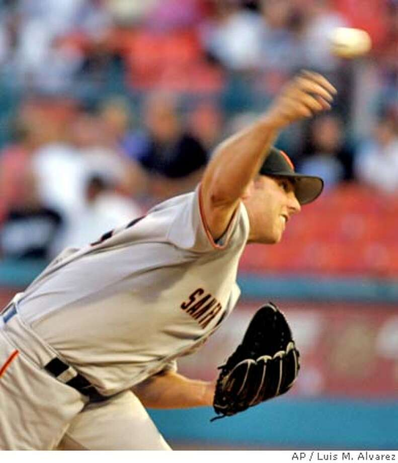 San Francisco Giants starting pitcher Brett Tomko throws against the Florida Marlins in the first inning Thursday, Aug. 26, 2004, in Miami. (AP Photo/Luis M. Alvarez) Photo: LUIS M. ALVAREZ