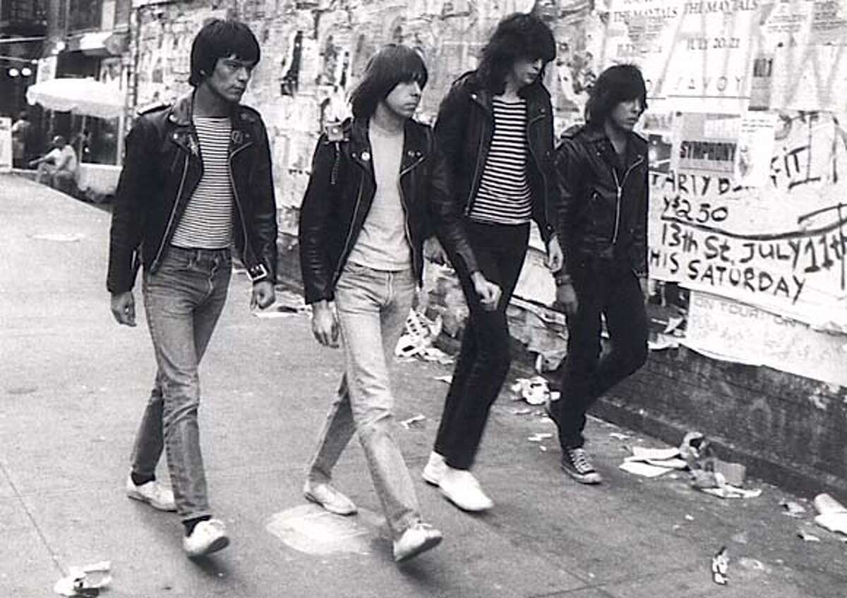 """ramones01.jpg (L-R) Dee Dee, Johnny, Joey and Marky Ramone in """"End of the Century: The Story of the Ramones."""" Godlis / Magnolia Pictures"""